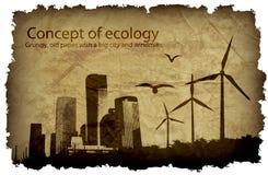 Grungy, oud document met een grote stad en windmolens vector illustratie