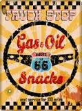 Grungy oude route 66 wegrestaurantteken stock illustratie