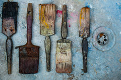 Grungy paint brushes background Royalty Free Stock Images