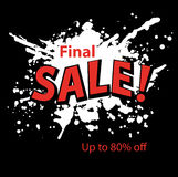 Grungy Paint Splatter Blots Final Sale banner Royalty Free Stock Photo