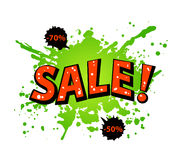 Grungy Paint Splatter Blots  Sale banner Royalty Free Stock Photo
