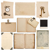 Grungy paper sheets with clock and key. Used cardboard texture Royalty Free Stock Photo
