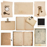 Grungy paper sheets with clock and key. Used cardboard texture Stock Image