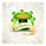 Grungy Patrick's Day Card with  Leprechaun Hat Stock Photo