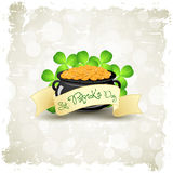 Grungy Patricks Day Card. Cauldron with Gold Coins Royalty Free Stock Images