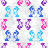 Grungy pattern with colorful butterflies Stock Image