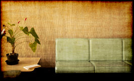 Grungy photo - room , plant, chairs Royalty Free Stock Photography