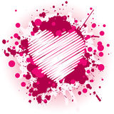 Grungy Pink Heart. Grungy Valentine's Day Design With Splatters vector illustration