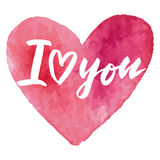 Grungy pink watercolor heart Valentine`s day calligraphy card. Royalty Free Stock Photo