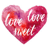 Grungy pink watercolor heart Valentine`s day calligraphy card. Royalty Free Stock Photos