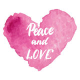 Grungy pink watercolor heart Valentine`s day calligraphy card. Stock Images