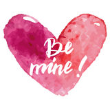 Grungy pink watercolor heart Valentine`s day calligraphy card. Royalty Free Stock Photography