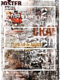 Grungy poster art. A background of grungy poster art with panels Stock Photos