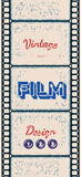 Grungy poster with letterpress styled film strip. Grungy vertical retro poster with letterpress styled film strip Stock Images