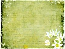 Grungy prentbriefkaar met bloemenelementen Stock Foto's