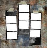 Grungy printed film strips. Printed medium format film strips, against grungy background, free picture or copy space Stock Photography