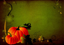 Grungy Pumpkin & Foliage Frame Royalty Free Stock Images