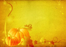Grungy pumpkin & foliage frame Stock Image