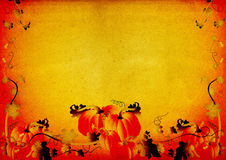 Grungy pumpkin & foliage frame. Grungy illustration, pumpkins, foliage, flowers on textured background Stock Photography