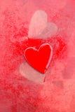 Grungy röda hjärtor Arkivbild