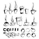 Grungy ręka rysująca atrament kawa iść filiżanki i kubki z kontrparą, Roa ilustracji