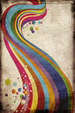 Grungy rainbow. Grungy background with rainbow swirls and dots vector illustration