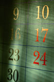 Grungy red calendar dates Royalty Free Stock Photos