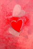 Grungy Red Hearts Stock Photography