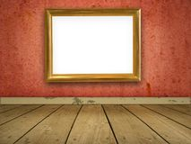 Grungy red room with blank gold frame. Royalty Free Stock Image