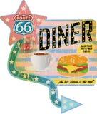Grungy retro route 66 diner teken, royalty-vrije illustratie