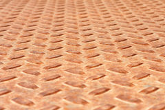 Grungy ridged metal plate. Grungy ridged rusty metal plate background with a repetitive pattern in rows Royalty Free Stock Photos