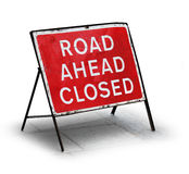 Grungy road closed sign Stock Image