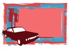 Grungy rode achtergrond en auto Royalty-vrije Stock Fotografie