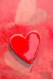 Grungy Rode Harten Stock Foto's