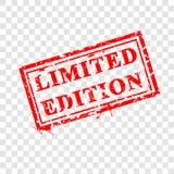 Grungy rode Rubberzegel, Beperkte Uitgave, bij Transparante Effect Achtergrond stock illustratie