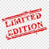 Grungy rode Rubberzegel, Beperkte Uitgave, bij Transparante Effect Achtergrond vector illustratie