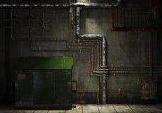 Grungy Rohre und Müllcontainer Stockfotografie