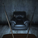 Grungy room with a couch and a tv. Interior scene of a grungy dark concrete room with a black leather couch ligthened by a television screen Royalty Free Stock Photography