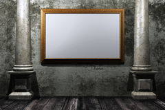 Grungy room with gold frame Royalty Free Stock Images