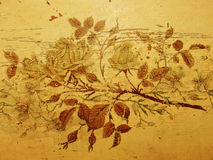 Grungy roses. Grungy vintage roses, old damaged drawing, antique furniture Stock Images