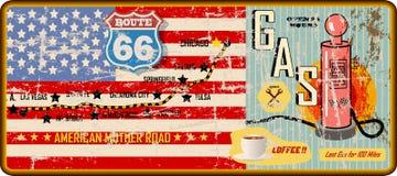 Grungy route 66 benzinestationteken en wegenkaart, retro grungy vector royalty-vrije illustratie