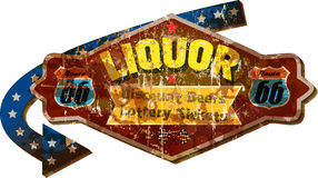 Grungy route 66 liquor store sign. Grungy retro route 66 liquor store advertising sign, vector illustration Stock Image