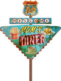 Grungy route 66 metal diner sign, Stock Image
