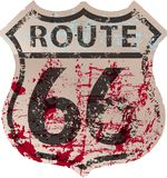 Grungy route 66 road sign,fictonal artwork Royalty Free Stock Photo