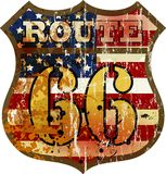 Grungy route 66 road sign. Retro style, vector illustration Stock Photo