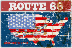 Grungy route 66 sign. Grungy r66 six road map sign,retro grungy vector illustration Royalty Free Stock Photography
