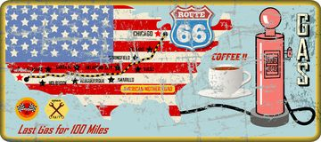 Grungy route 66 gas station sign and road map,retro grung stock illustration