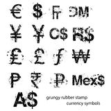 Grungy rubber stamp currency sign symbols set, vector Stock Photos