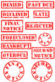 Grungy rubber stamps. For bad economy Royalty Free Stock Photos