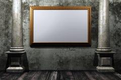 Grungy ruimte met gouden frame Royalty-vrije Stock Afbeeldingen
